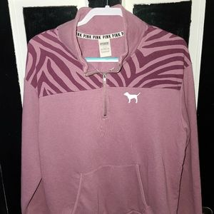 Wmns PINK Half Zipped Pullover